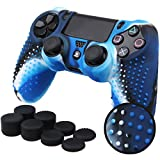 Pandaren� STUDDED silicone cover skin anti-slip for PS4/ SLIM/ PRO controller x 1(camouflage blue) + FPS PRO thumb grips x 8