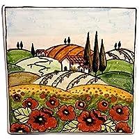 CERAMICHE D'ARTE PARRINI - Italian ceramics artistic, tile decoration landscape poppies, handmade made in ITALY Tuscan