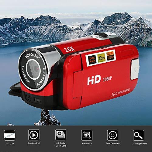 Gaddrt Video-Camcorder HD 1080P Digitale Handkamera mit 16-fachem Digitalzoom Kamera (Red)
