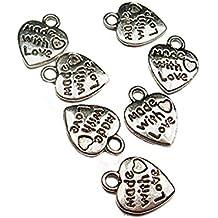 3aa4dfa12c21 Bruselas08 50 piezas chapado en plata oro hecho con amor tallado tono  colgante para manualidades