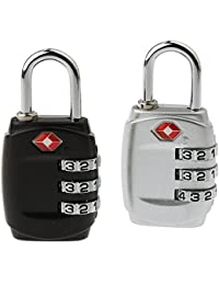 DOCOSS-PACK OF 2--331-METAL TSA Approved Lock 3 Digit For USA International Number Locks For Luggage Bag Travelling...