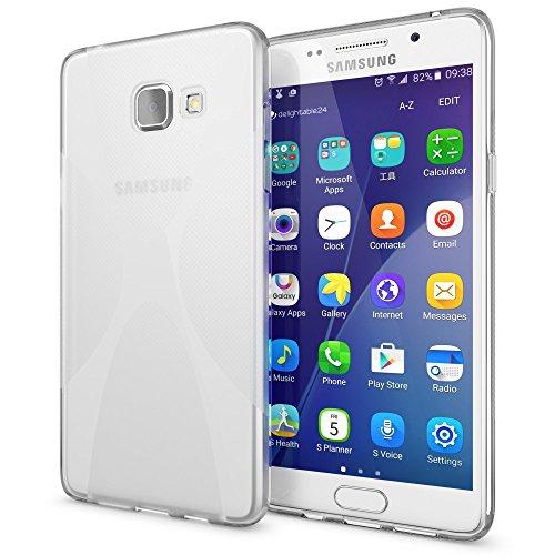 Samsung Galaxy A5 2016 Hülle Handyhülle von NICA, Ultra-Slim Silikon Case, Dünne Crystal Schutzhülle, Etui Handy-Tasche Back-Cover Bumper, TPU Gummihülle für Samsung-A5 16 Phone - Matt Schwarz X-Line Transparent