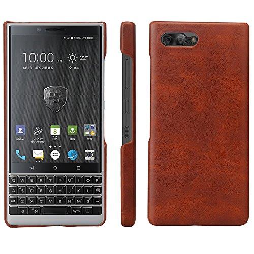 HualuBro BlackBerry KEY2 Hülle, Ultra Slim Premium Leichtes PU Leder Leather HandyHülle Tasche Schutzhülle Case Cover für BlackBerry Key 2 Smartphone (Braun)