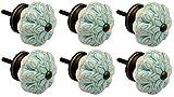 Möbelknöpfe aus Keramik - Blumendesign im Vintage-Look - Minzgrün - 6 Stück