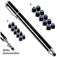 MobiLinyi Premium iPad Touchstift schwarz mit 20 x Ersatzspitzen Eingabestift Stylus Touch Pen kompatibel mit Apple iPhone iPad Samsung Huawei Sony Honor Cubot Smartphones und Tablets