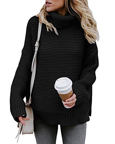 Yidarton Pullover Damen Rollkragenpullover Strickpullover Lässiges Stricken Pulli Winter Sweatshirt Oberteile Elegant, Schwarz, L