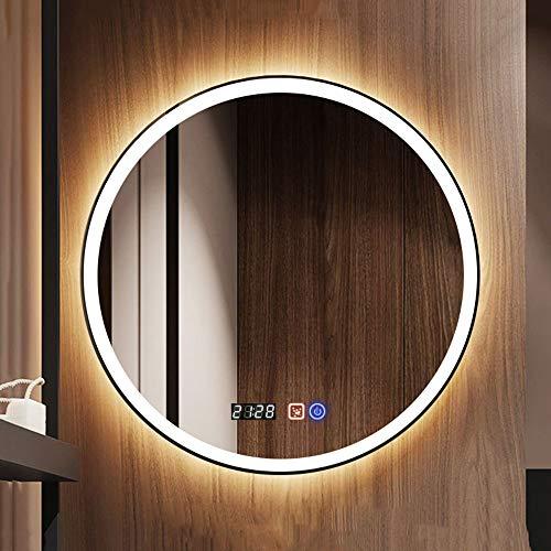 Bathroom mirror Moderner Runder LED-Badspiegel, An Der Wand Befestigter Beschlag Mit Beleuchthung Spiegel, Mit Zeitanzeige WeißEs Licht 6000k, Warmes Licht 2700-3000k - Weiße Wand Steuert Vier