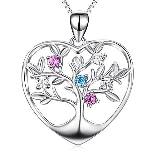 ZSML 925 Sterling Silber Halskette, Baum des Lebens Anhänger mit bunten Swarovski Element Kristallen Schmuck Halskette für Frauen Geschenk verziert