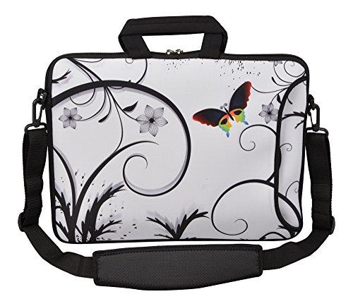MySleeveDesign Laptoptasche Notebooktasche Umhängetasche Größe 15,6 Zoll und 17,3 Zoll - mit VERSCH. DESIGNS - Colored Butterfly [17]