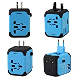 Goldfox® Universal Welt Reiseadapter Mit 2 USB Ladegerät Reisestecker Adapter World Travel Adapter für Weltweit 150 Ländern mit EU/UK/US/AU Stecker LED-Betriebsanzeige (Blau)