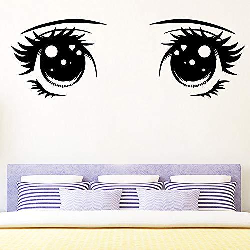 wukongsun 3D niedlichen Augen wasserdicht Wandaufkleber Art Deco Schlafzimmer Home Party Beauty Salon Dekoration Tapete schwarz M 30cm x 74cm