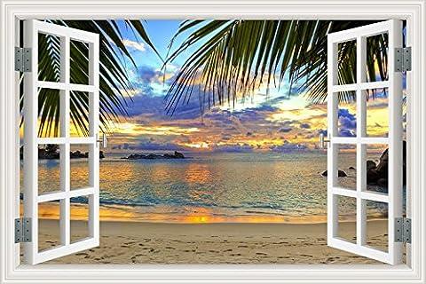 JMHWALL Blue Sky Beach Coconut Tree Tropic 3D décor mural amovible Seascape Coucher du soleil Vue de la fenêtre de création de papier peint Décoration,W0070,80x120cm 32x48cm