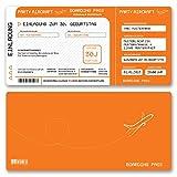 (80 x) Einladungskarten Geburtstag Flugticket Ticket Karte Einladungen in Orange