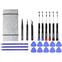 22 piezas de este conjunto de herramientas de reparación para Apple MacBook y reparación de iPhone, que incluye: destornilladores, pinzas, herramientas de apertura y la bolsa de herramientas