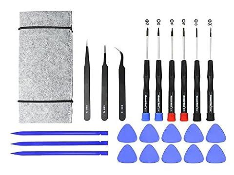 Kits d'outils de réparation de 22 pièces pour MacBook et iPhone. Y compris les tournevis, les pinces, les outils d'ouverture et le sac à outils