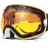 Skibrille ,COPOZZ G1 Ski Snowboard Brille Brillenträger Schneebrille Snowboardbrille Verspiegelt - Für Damen Herren Frauen Jungen - Mit Sehstärke OTG UV-Schutz Anti-Fog Black Weiß Pink Schlechtwetter