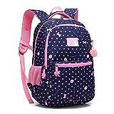 Kinder Mädchen Schule Rucksack Wasserdicht Elementar Punkt Büchertasche mit Brust Gurt