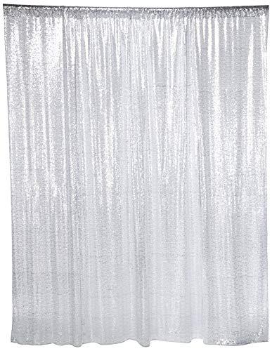 (shinybeauty Pailletten Hintergrund–Hintergrund Fotografie und Photo Booth Hintergrund für Hochzeit/Party/Fotografie/Vorhang/Geburtstag/Weihnachten/Ball/andere Event Decor–4x (121,9x 182,9cm) 4FTx6FT silber)