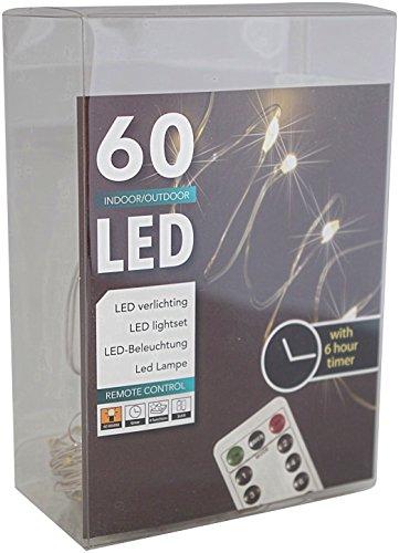 HTL 60er Led Draht Lichterkette Batterie warmweiß mit Timer für innen und außen + Fernbedienung für 8 verschiedene Funktionen