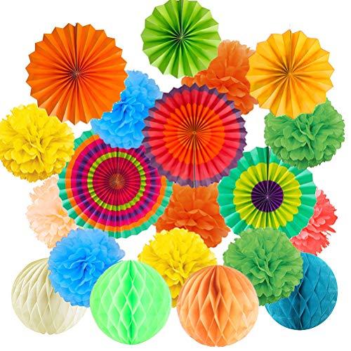 Buygoo 21pz fiori di carta crespa ventilatori di carta decorazione pompons e palle a nido d'ape per decorazione della festa nuziale nozze nidi nuziale doccia camera della decorazione multicolore