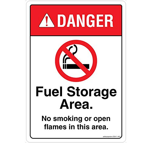 Safety Sign Store danger: Fuel Storage area. No smoking. No Open FLAMES. Materiale: policarbonato autoadesivo 3 m - 0.25 mm, confezione da 1 210 L X 297 W