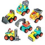 Kunststoff Spielzeugauto, 6 Baufahrzeuge in einem Set LKW Spielzeug für Kinder ab 18 Monate - Bulldozer, Zementmischer, Kipper, Gabelstapler, Bagger und Straßenwalze