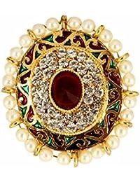 Adoreva Gold Red Green White Pearl Alloy Adjustable Finger Ring for Women