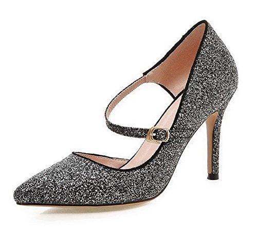 AgooLar Femme Boucle Pointu à Talon Haut Tissu à Paillette Couleur Unie Chaussures Légeres Noir