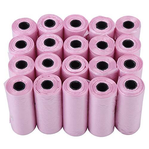 Fdit Hundeabfall Kotschaufel TütenTaschen biologisch abbaubare HaustiersackTaschen Umweltfreundliche Hundekacke Taschen für Poop Abbau Beseitigung(Rosa)