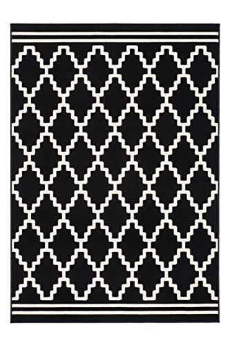Kayoom Teppich Lina 200 Schwarz/Elfenbein, Größenauswahl:120 x 170 cm - Schwarz Elfenbein Teppich
