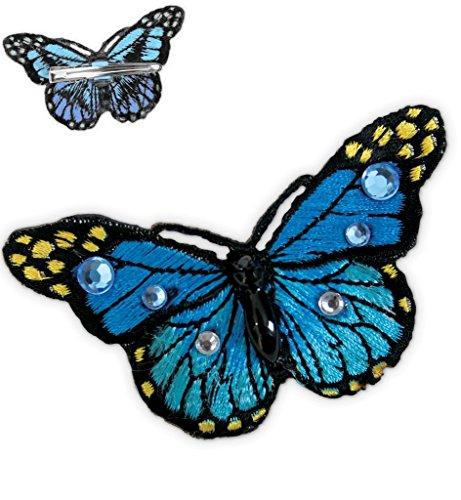 Haarclip Schmetterling, sortierte Farben, Karneval, Accessoire (blau)
