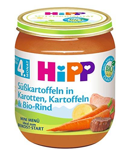 HiPP Menüs nach dem 4-ab 6. Monat, Süßkartoffeln in Karotten, Kartoffeln & Bio-Rind, 6er Pack (6 x 125 g)