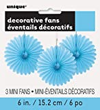 Unique Party - Paquete de 3 decoraciones abanicos pequeños de papel de seda, color azul claro, 15 cm (63251)