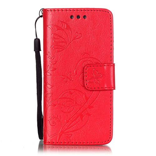 iPhone Case Cover Folio-Schlag-Standplatz-Fall, Mappen-Kasten mit Bargeld und Karten-Slot Premium-PU-Leder-Schutzhülle aus Silikon für iPod Touch5 6 ( Color : Blue , Size : IPod Touch5 6 ) Red