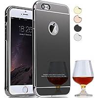Semoss Lusso Metallo Alluminio Custodia Strass per Apple iPhone 7 Utra Slim Thin Protettivo Specchio Bumper Back HardCase Cover Rigida - Nero