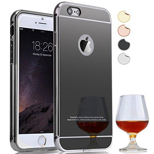 Semoss-Lusso-Metallo-Alluminio-Custodia-Strass-per-Apple-iPhone-7-Plus-Utra-Slim-Thin-Protettivo-Specchio-Bumper-Back-HardCase-Cover-Rigida-Nero