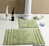 Homescapes 2-teiliges Badematten Set Spa Supreme bestehend aus Badematte 50 x 80 cm und WC Vorleger 50 x 55 cm aus 100% reiner Baumwolle, waschbar bei 40 Grad, saugstark, rutschfest und pflegeleicht in lindgrün