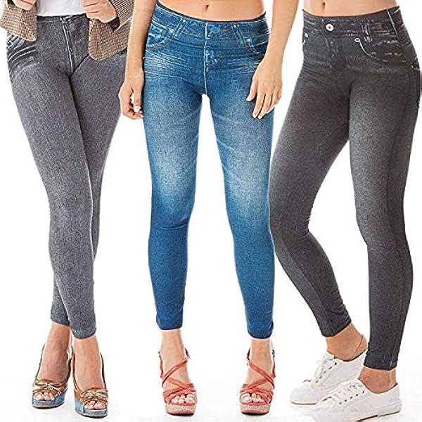 New Womens Ladies Slim Skinny Fitted Denim Look Jeggings Pants Leggings Size