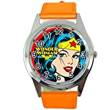 Taport Wonder Woman à Quartz Rond SCi FI Montre Orange véritable Bande de Cuir + Gratuit Batterie de Rechange + Sac Cadeau Gratuit