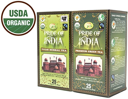Pride Of India - Organic Healing Combo Pack - Tulsi Holy Basil Tea & Green Tea (2 Boxes - 50 Tea Bags Total)