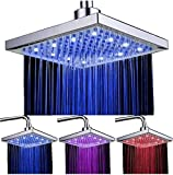 LED Soffione doccia 8 pollici controllo della temperatura 3 colore cambiando flusso d'acqua alimentato, soffione per…