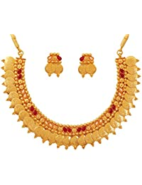 Touchstone Gold Plated Temple & Coin Necklace Set For Women