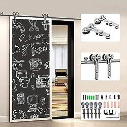 6FT/182cm Stainless Steel Sliding Barn Single Door Hardware Closet Track Kit for Wood/Glass Door