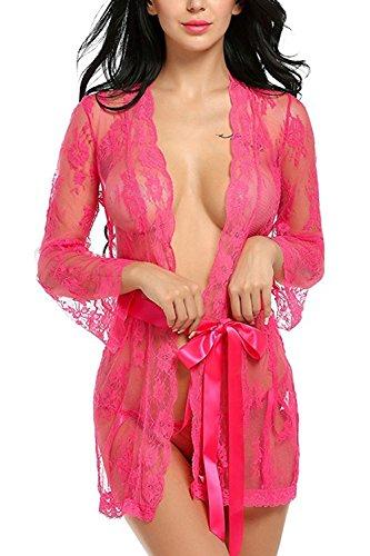 Chemise de nuit des femmes manches longues dentelle See-through Blouse Rose