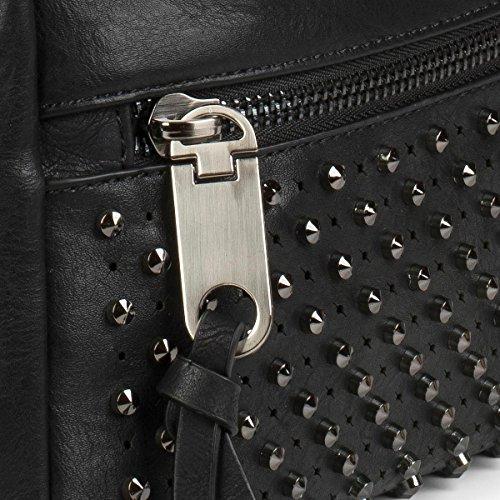 styleBREAKER Hobo Bag Handtasche mit Nieten besetzt, Reißverschlussfach vorne, Shopper, Schultertasche, Tasche, Damen 02012179, Farbe:Schwarz Schwarz