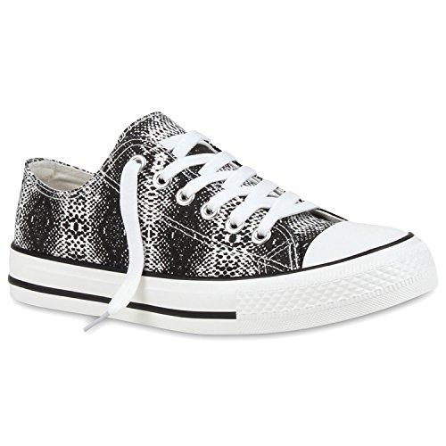 Freizeit Damen Sneakers Low Viele Farben & Größen Canvas Schuhe Snake