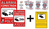 tualarmasincuotas.es  Pack o Conjunto de Carteles disuasorios + Zona Videovigilada + 6 Pegatinas de Seguridad para Interior/Exterior