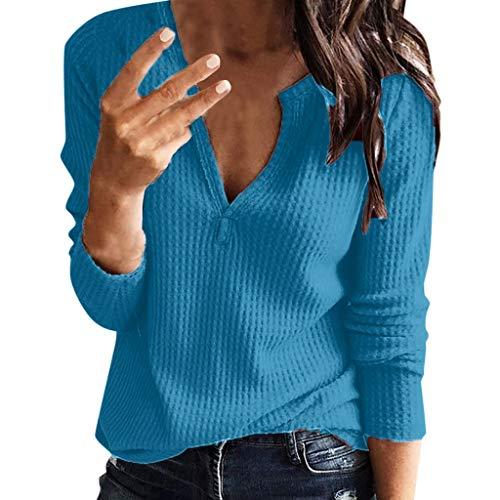 Daysing Pullover Langarm T-Shirt Damen, Sunday Fashion Herbst Winter Damen Langarm Tiefem V-Ausschnitt Kragen Overall S-5XL Solide Casual Langarm Top