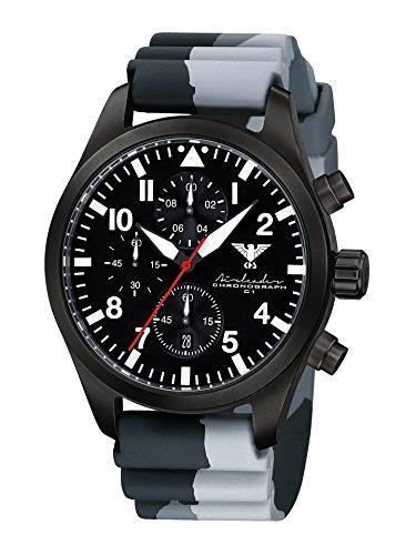 Airleader Black Steel Chronograph KHS.AIRBSC.DC1 Edelstahl IP-beschichtet schwarz, Diverband Camouflage schwarz, KHS Tactical Watch, Einsatzuhr, Fliegeruhr
