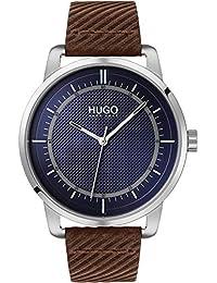 HUGO Mixte Adulte Analogique Quartz Montre avec Bracelet en Cuir 1530100